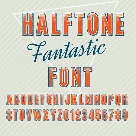 sans: halftone alphabet, halftone letters and numbers, sans-serif dotted font.