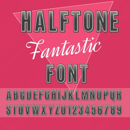 Alfabeto medias, las letras y los números de medias tintas, sans-serif de puntos. Foto de archivo - 60554977