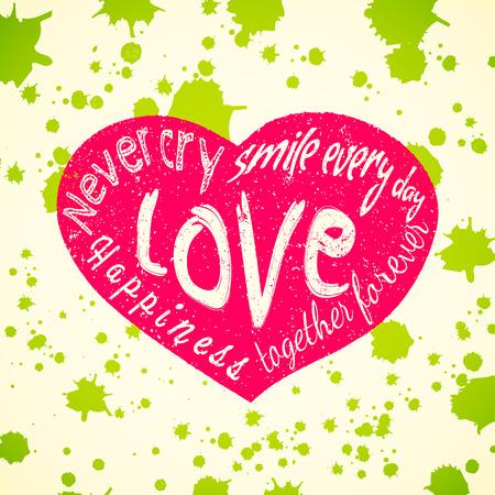 Grunge heart. Typography Illustration. Illustration