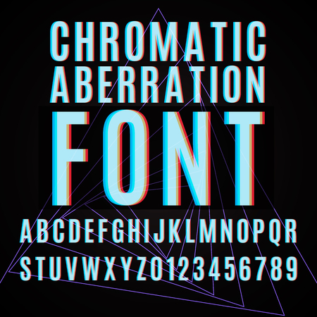 Vector font with chromatic aberration effect.