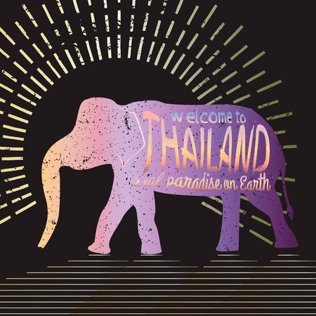 タイ ベクトル タイポグラフィ図。黒の背景に表示される碑文でアジア象のシルエット。 写真素材 - 61590199