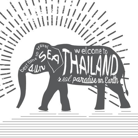 タイ ベクトル タイポグラフィ図。白い背景上の碑文を持つアジア象のシルエット。 写真素材 - 61590200
