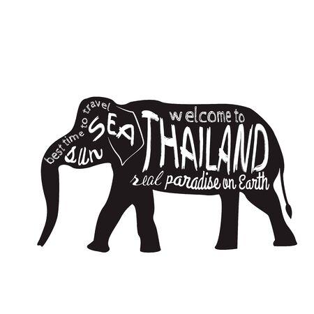 タイ ベクトル タイポグラフィ図。白い背景上の碑文を持つアジア象のシルエット。 写真素材 - 61590207