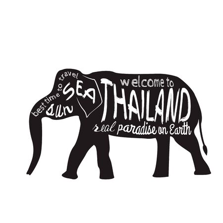 asian elephant: Thailand vector typography Illustration. Silhouette of an Asian elephant with inscriptions presented on a white background.