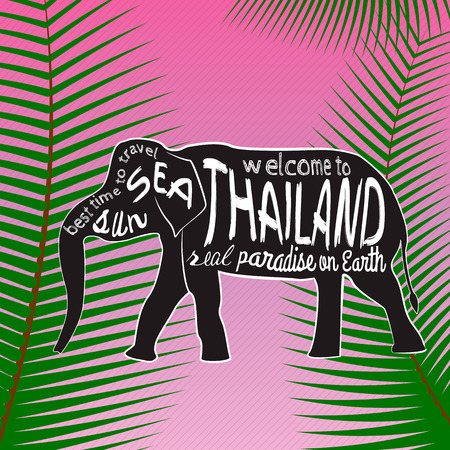 タイ ベクトル タイポグラフィ図。パームの背景についての碑文とアジア象のシルエットを残します。 写真素材 - 61590204