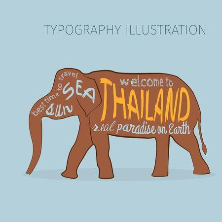 タイ ベクトル タイポグラフィ図。碑文のアジア象のシルエット。