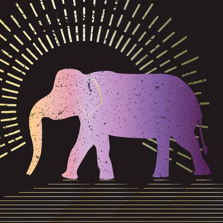 象は、タイポグラフィ図ベクトルします。黒の背景に表示されるアジア象のグランジ シルエット。 写真素材 - 61590233