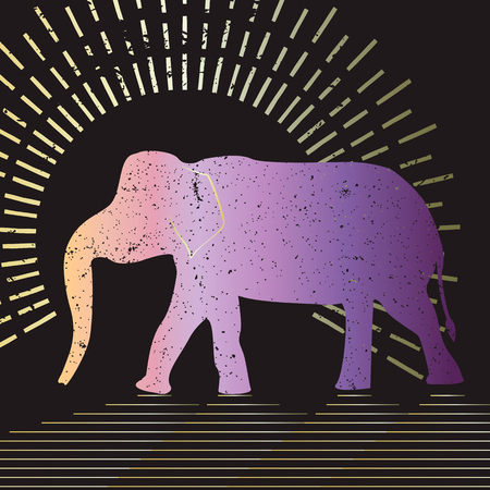 asian elephant: Elephant vector typography Illustration. Grunge silhouette of an Asian elephant presented on a black background. Illustration