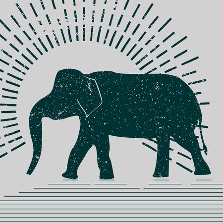 象は、タイポグラフィ図ベクトルします。灰色の背景に提示アジアゾウのグランジ シルエット。 写真素材 - 61590235