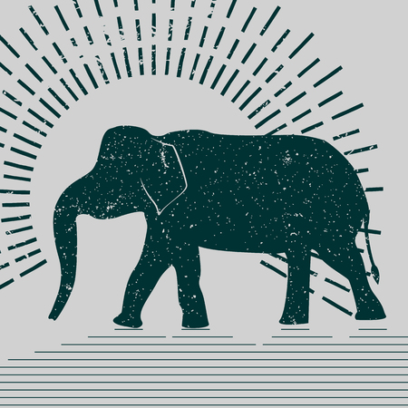 asian elephant: Elephant vector typography Illustration. Grunge silhouette of an Asian elephant presented on a gray background.