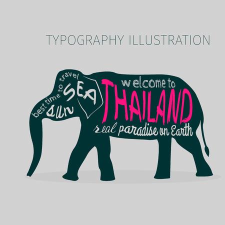 タイ ベクトル タイポグラフィ図。灰色の背景に提示の碑文とアジア象のシルエット。