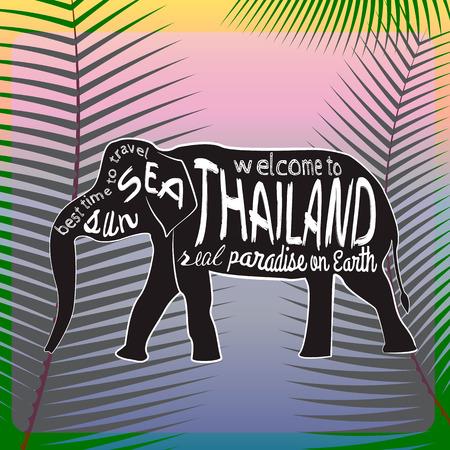 タイ ベクトル タイポグラフィ図。パームの背景についての碑文とアジア象のシルエットを残します。