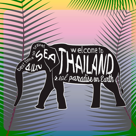 asian elephant: Thailand vector typography Illustration. Silhouette of an Asian elephant with inscriptions presented on a background of palm leaves.
