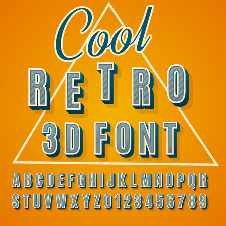 Vector retro 3D font with shadow. Vintage poster.