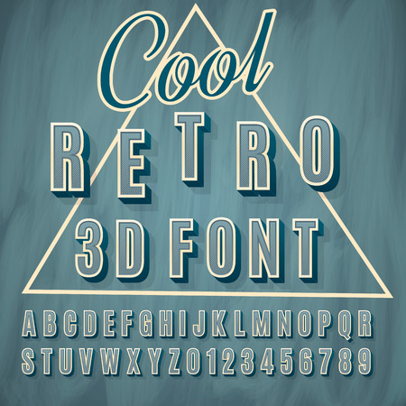 retro font: Vector retro 3D font with shadow. Vintage poster.