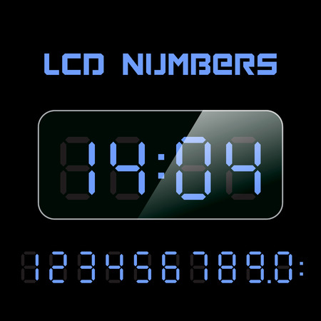 Set vector LCD numbers. LCD figures for a digital watch and other electronic devices.
