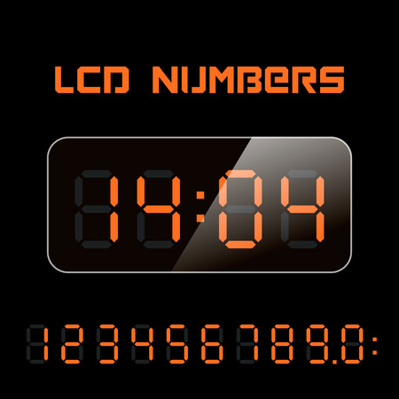 lcd: Set vector LCD numbers. LCD figures for a digital watch and other electronic devices.