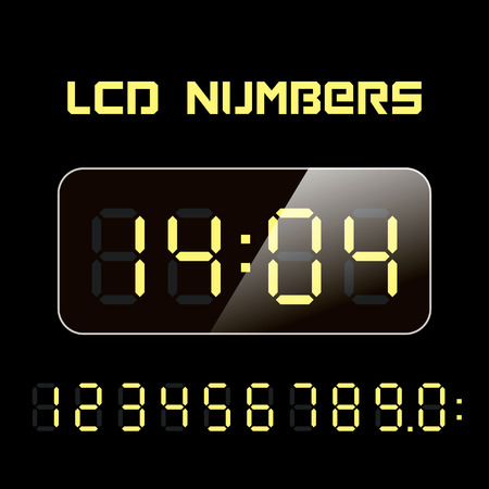 electronic devices: Set vector LCD numbers. LCD figures for a digital watch and other electronic devices.