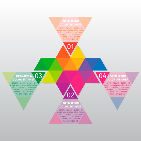 Vector infographic template. Vector design from the hexagons divided into multi-colored triangles.