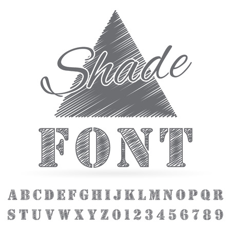 Vector shaded font. Alphabet vector font. Type letters and numbers.