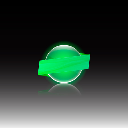 glass reflection: Vector glowing sphere with a glass effect. Template for your design.