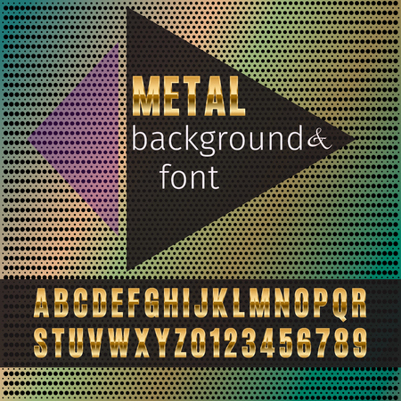 Metal font and background (metal grid). Template for design.