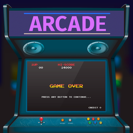 Retro arcade game machine. Vector illustratie.