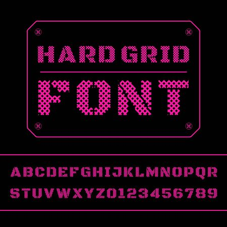 Mesh font alphabet. Vector mesh letters and numbers.