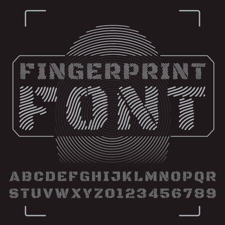 fingermark: Vector font stylized under fingerprints.