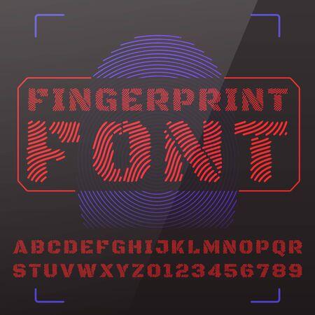 fingerprints: Vector font stylized under fingerprints.