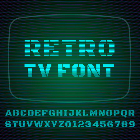 Vector font stylized under the old TV.