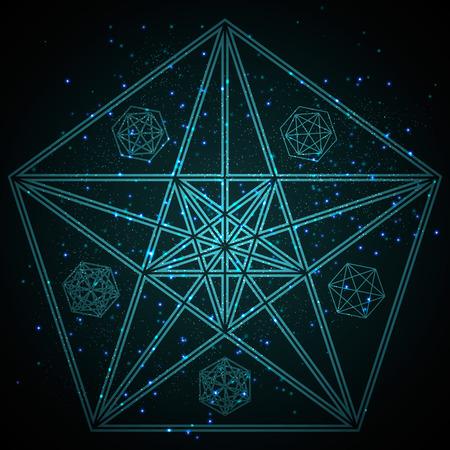神秘的な幾何学。抽象的なベクトル イラスト。抽象的な幾何学的な図。