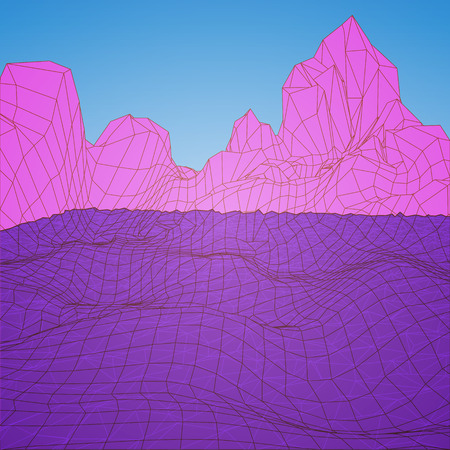Low Poly Landscape. Background in style arcades the 80s. Vector Illustration. Illustration