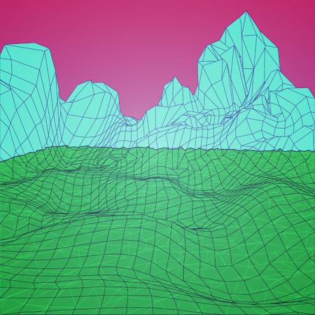 Low Poly Landscape. Antecedentes en arcadas de estilo de los años 80. Ejemplo del vector