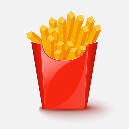 junkfood: French fries potato. Vector illustration.