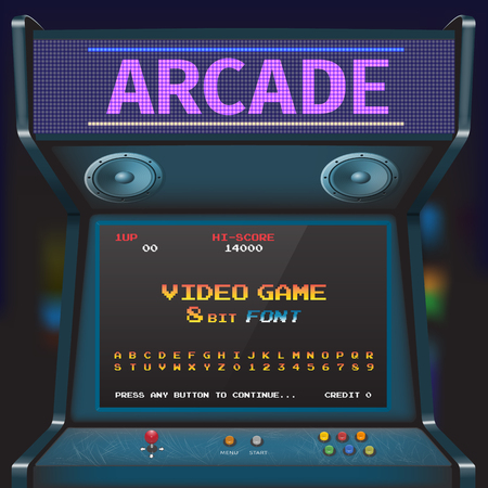 아케이드 비디오 게임 글꼴. 8 비트 글꼴. 아케이드 복고풍 기계.