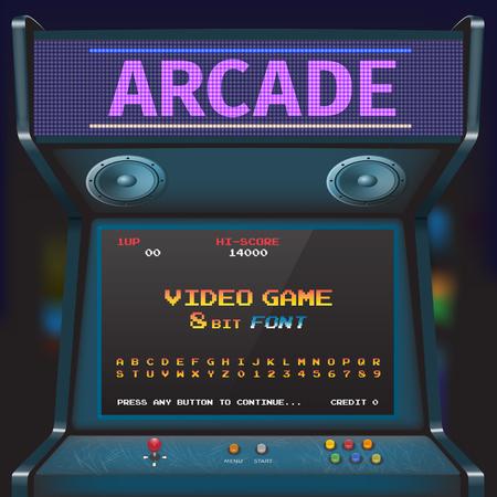 Arcade Video Game Font. 8 bit font. Arcade Retro Machine. 向量圖像