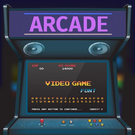 Arcade Video Game Font. 8 bit font. Arcade Retro Machine. Illustration