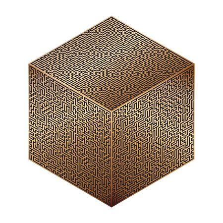 Vector cube stylized as a maze. Labyrinth decoration.