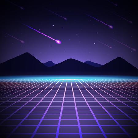 산과 떨어지는 유성 밤 풍경. 벡터 일러스트 레이 션. 80 년대 스타일의 아케이드 배경.