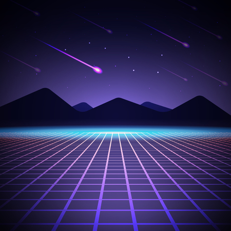 Night landscape with mountains and falling meteors. Vector illustration. Background in style arcades the 80s.
