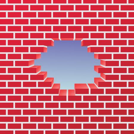 Break in a brick wall. Vector Illustration.  イラスト・ベクター素材