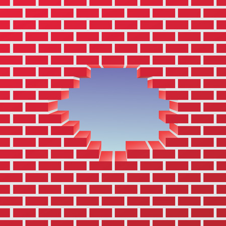 Break in a brick wall. Vector Illustration. Stock Illustratie
