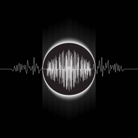 Eclipse and wave graph. Abstract vector illustration.