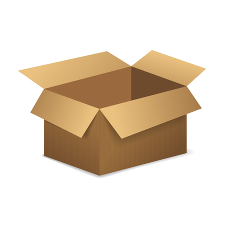 Open empty cardboard box. Vector illustration. Иллюстрация