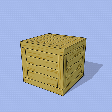 3D wooden crate executed in cartoon style. Vector template on a theme of cargoes and warehouses. Ilustrace