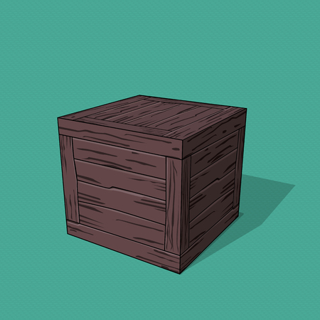 Caisse en bois 3D exécutée en style cartoon. Modèle vectoriel sur un thème de cargaisons et d'entrepôts.