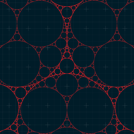 gasket: Circular Fractal. Apollonian Gasket Fractal. Abstract Vector Background.