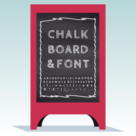 Advertising Street Sandwich Stand with chalkboard and chalk font. Ilustração Vetorial