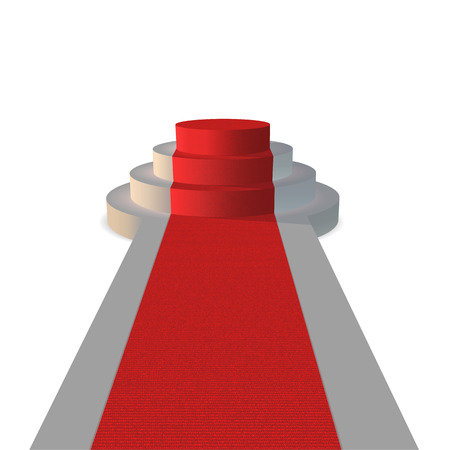 Podium with a red carpet. On the carpet, the texture of the carpet. Vector template. Stock Illustratie